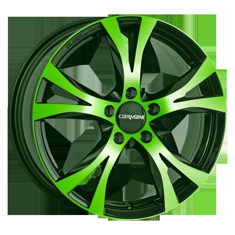 CARMANI 9 Compete hliníkové disky 7x16 5x114,3 ET45 neon green polish